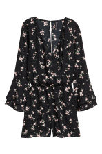 V-neck playsuit - Black/Floral - Ladies | H&M IE 2