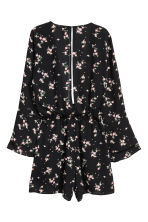 V-neck playsuit - Black/Floral - Ladies | H&M IE 3