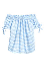 Off-the-shoulder top - Light blue/Checked - Ladies | H&M 2