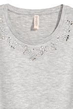 水鑽平紋上衣 - Light grey marl - Ladies | H&M 3