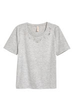 水鑽平紋上衣 - Light grey marl - Ladies | H&M 2
