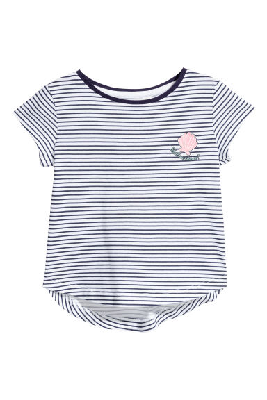 平紋上衣 - Dark blue/White striped - Kids | H&M 1