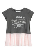 Top with tulle flounce - Dark grey - Kids | H&M CN 2