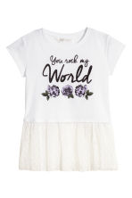 Top with Tulle Flounce - White - Kids | H&M CA 2
