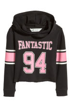 Cropped hooded top - Black - Kids | H&M 1
