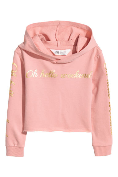 Cropped hooded top - Powder pink - Kids | H&M