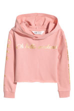 Cropped hooded top - Powder pink -  | H&M CN 1
