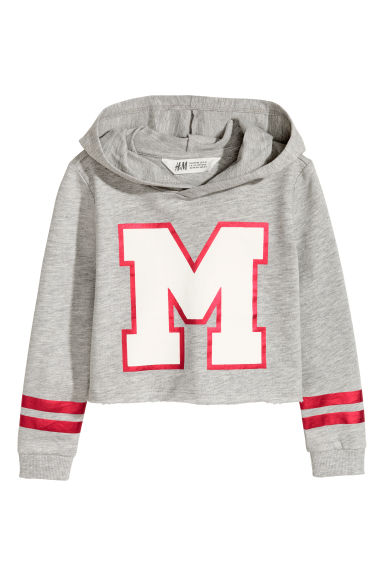 Cropped hooded top - Light grey marl - Kids | H&M 1