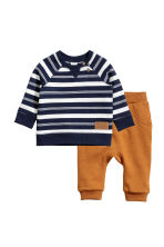 Top and joggers - Dark blue/White striped - Kids | H&M CN 1