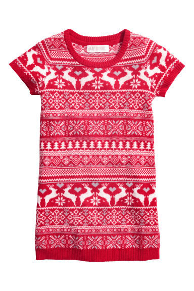 Jacquard-knit dress - Red/White - Kids | H&M