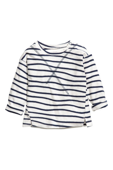 Long-sleeved top - White/Blue striped - Kids | H&M CN