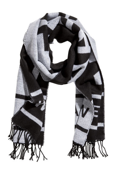 Jacquard-weave scarf - Black/Make Change - Ladies | H&M