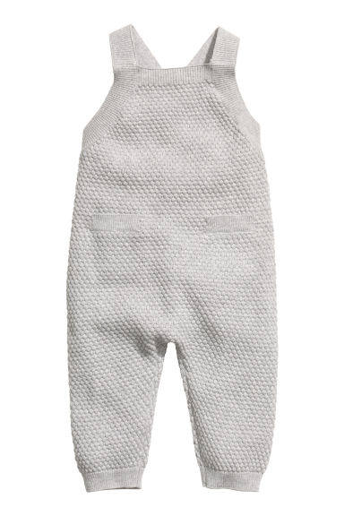 Textured-knit romper suit - Light grey - Kids | H&M