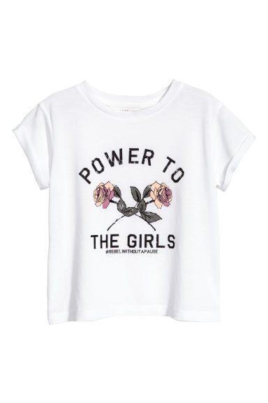 Printed jersey top - White - Kids | H&M CN 1