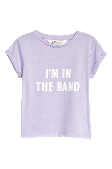 Printed jersey top - Light purple - Kids | H&M CN 1