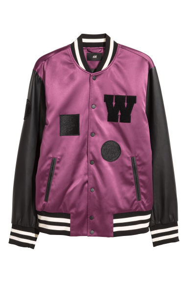 Padded baseball jacket - Purple/Black - Men | H&M
