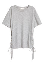 Top with lacing - Grey marl - Ladies | H&M CN 2