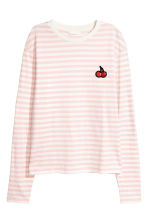 Long-sleeved top - Light pink/White striped - Ladies | H&M 2