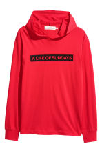 Cotton jersey hooded top - Red - Men | H&M 2