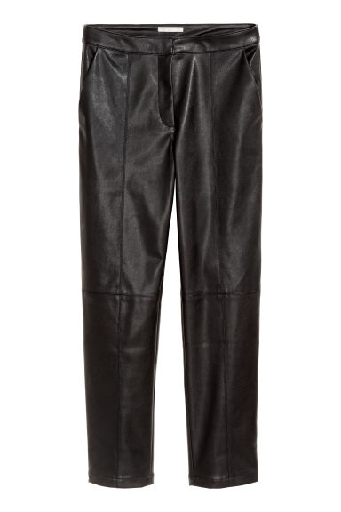 Imitation leather trousers - Black - Ladies | H&M CN