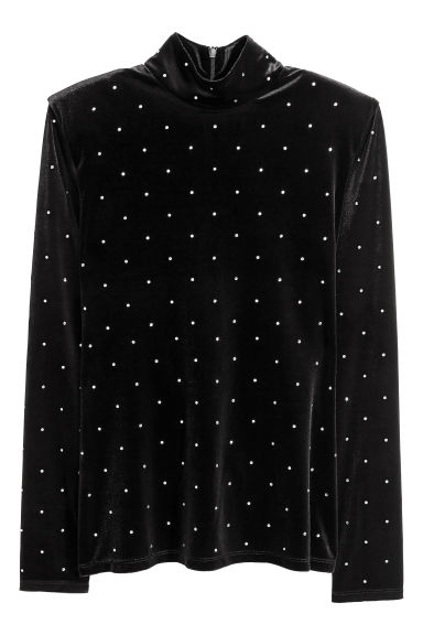 Polo-neck jumper - Black/Sparkly stones - Ladies | H&M CN