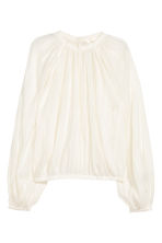 Balloon-sleeved blouse - Natural white - Ladies | H&M CN 2