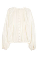 Balloon-sleeved blouse - Natural white - Ladies | H&M CN 3