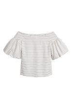 Off-the-shoulder blouse - White/Striped - Ladies | H&M CN 2