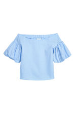 Off-the-shoulder blouse - Light blue - Ladies | H&M CN 2