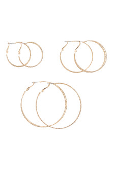 3 pairs hoop earrings