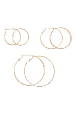 3 pairs hoop earrings - Gold-coloured - Ladies | H&M CN 1