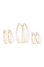 3 pairs hoop earrings - Gold-coloured - Ladies | H&M CN 2