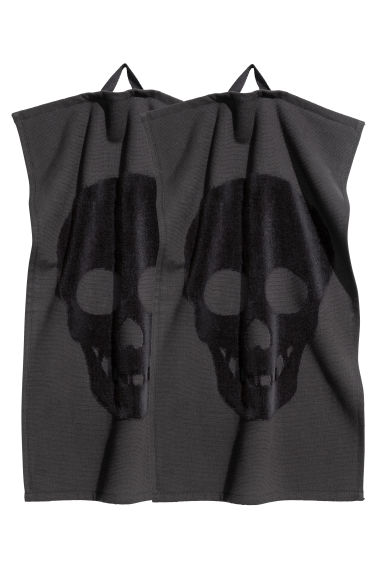 2-pack guest towels - Black/Skull - Home All | H&M CN
