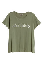 H&M+ Cotton top - Khaki green - Ladies | H&M 2