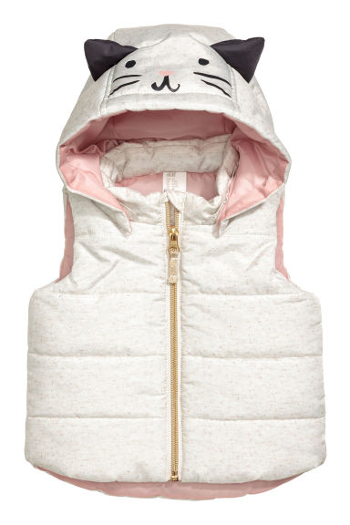 Padded gilet with a hood - White marl - Kids | H&M 1
