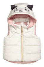 Padded gilet with a hood - White marl -  | H&M 1