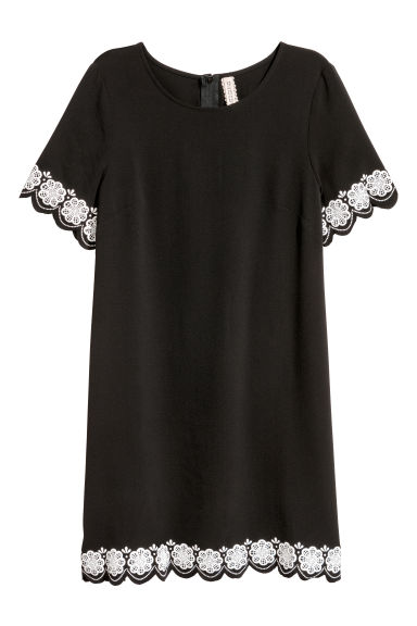 Short-sleeved dress - Black - Ladies | H&M CN