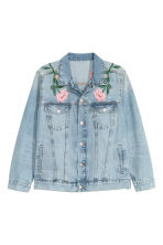 H&M+ Embroidered denim jacket - Light denim blue/Embroidery - Ladies | H&M CN 2