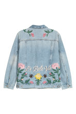 H&M+ Embroidered denim jacket - Light denim blue/Embroidery - Ladies | H&M CN 3