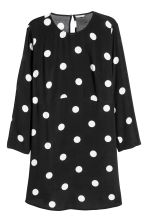 H&M+ Crêpe dress - Black/White spotted - Ladies | H&M 1