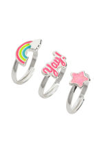 3-pack rings in a box - Silver-coloured/Pink - Kids | H&M 1