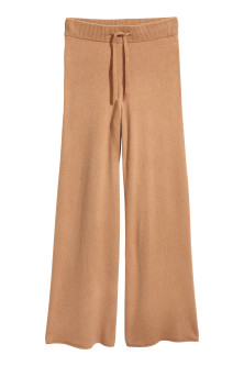 Wide cashmere trousers
