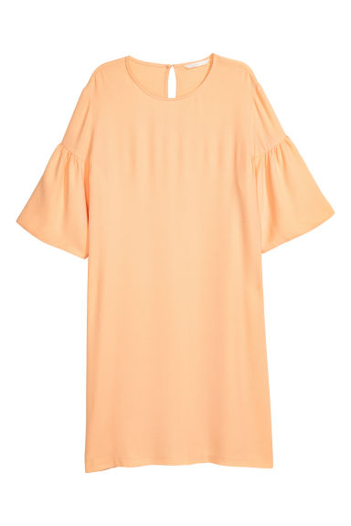 Flounce-sleeved dress - Peach - Ladies | H&M IE