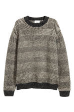 Jacquard-knit jumper - Dark grey/Beige - Men | H&M 3