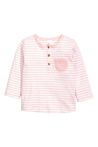 鈕扣長袖上衣 - Light pink/White striped -  | H&M 1