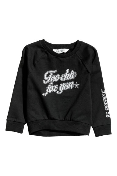 Sweatshirt with a motif - Black - Kids | H&M