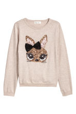 Knitted jumper - Light beige/Rabbit -  | H&M CN 1