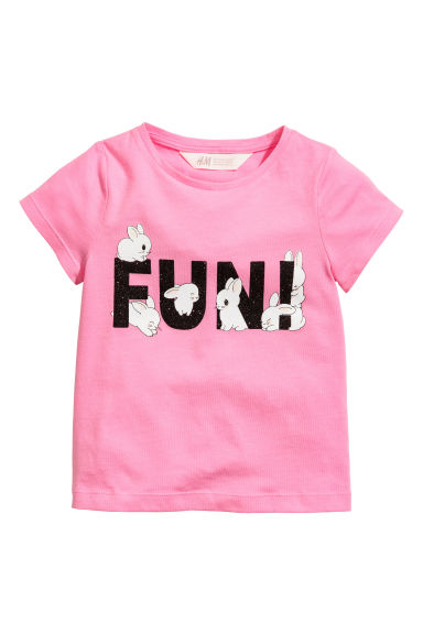 Printed jersey top - Pink - Kids | H&M CN 1