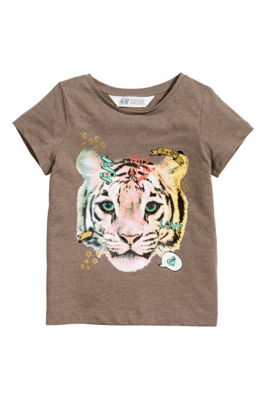 Jersey Top with Printed Design - Taupe - Kids | H&M CA 1