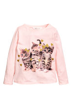 Printed jersey top - Light pink/Cats - Kids | H&M 1